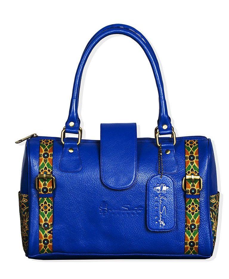 Royal Blue Handbag with printed Fabric